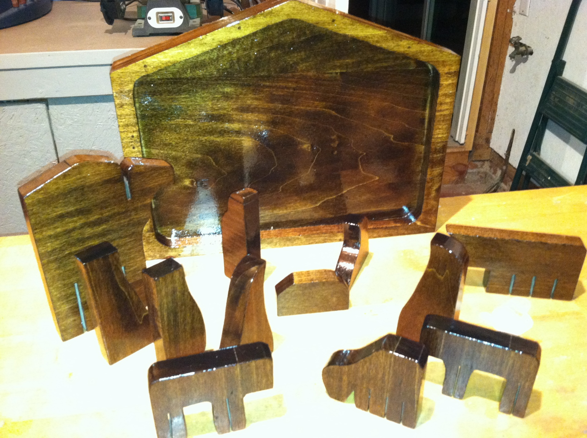 Olive wood nativity puzzle