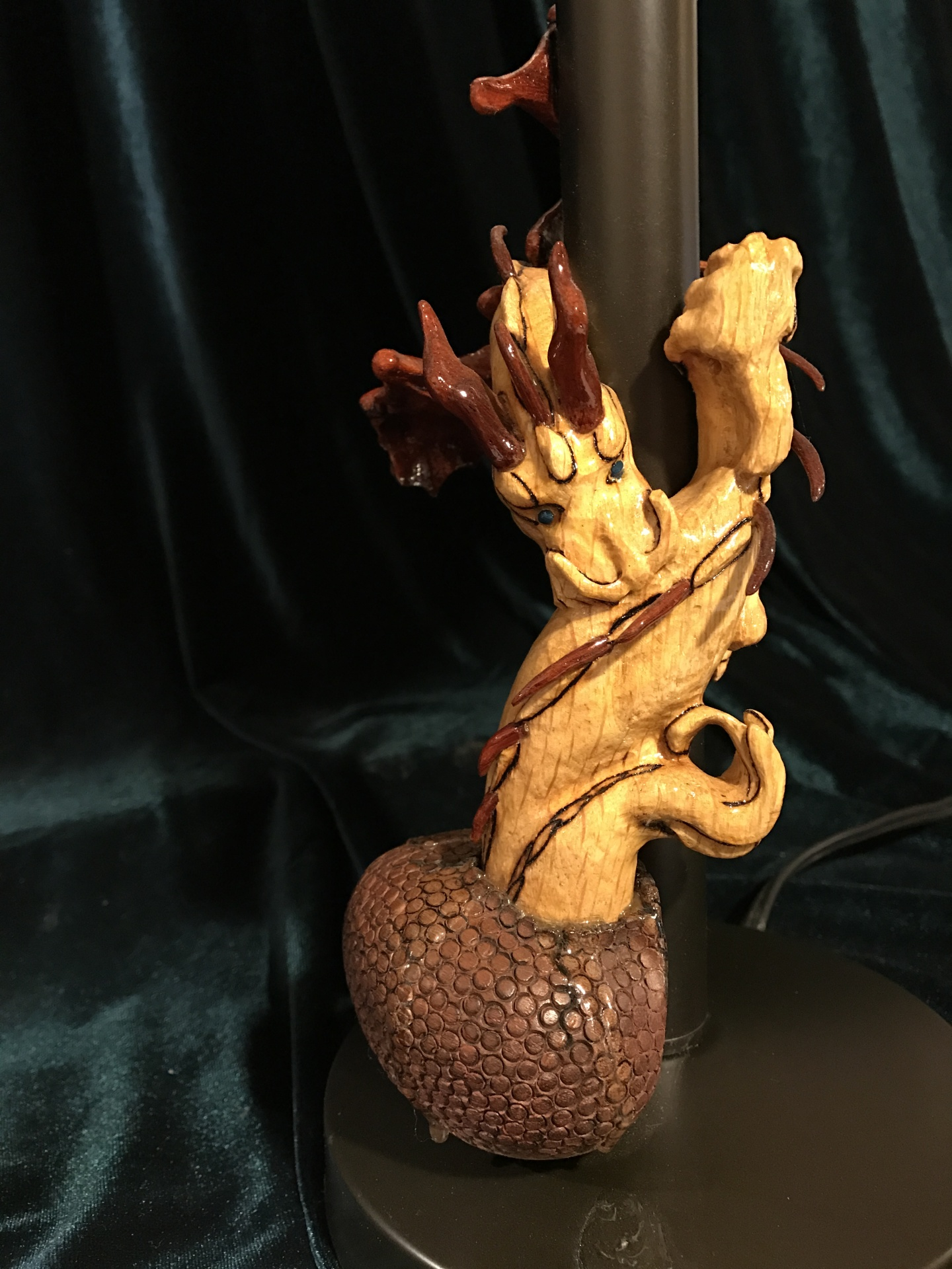 Hand Carved Wood Dragon Lamp